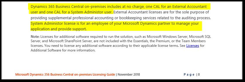 Dynamics NAV 365 Business Central On-Premise Licensing Guide November